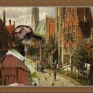 Dachshund Standard Smoothaired Fine Art Canvas Print - The lady with turban in small city