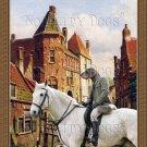 Dachshund Standard Smoothaired Fine Art Canvas Print - Dutch Town Scene with horserider