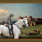 Dachshund Standard Smoothaired Fine Art Canvas Print - The horserider next to Sonnenstein Castle