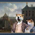 Akita Inu Fine Art Canvas Print - Boring afternoon in the city