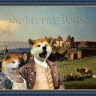 Akita Inu Fine Art Canvas Print - View of the castle