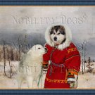 Alaskan Malamute Fine Art Canvas Print - Young hunter with his companion