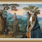 Ibizan Hound Smoothaired Fine Art Canvas Print - Wide mountainous landscape with a Castle