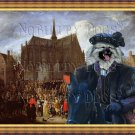 Keeshond Fine Art Canvas Print - Arrival at the church celebration