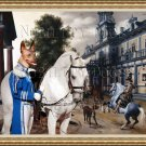Mexican Hairless Dog Fine Art Canvas Print - The riding school in Palace Garden
