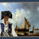 Portuguese Warren Hound Fine Art Canvas Print - Shipping Vessels in an Estuary