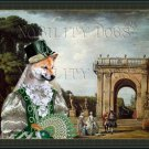 Shiba Inu Fine Art Canvas Print - View of the Villa Ludovisi Park in Rome