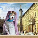 Siberian Husky Fine Art Canvas Print - Renaissance Palace and churlish Lady