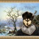 Siberian Husky Fine Art Canvas Print - Faggot Gatherers in a Winter Landscape