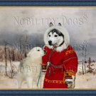 Siberian Husky Fine Art Canvas Print - Young Hunter with his companion