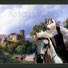 Siberian Husky Fine Art Canvas Print - The way to the ruined Castle