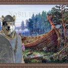Swedish Elkhound Fine Art Canvas Print - Viking ship