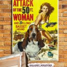 Basset Hound Canvas Print - Attack of the 50 Foot Woman Movie Poster