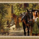 Basset Hound Fine Art Canvas Print - Horses at the Porch