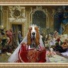 Basset Hound Fine Art Canvas Print - The Queen and joyfull friends