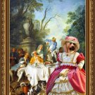 Australian Silky Terrier Fine Art Canvas Print - The garden party