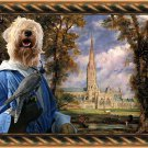Soft Coated Wheaten Terrier Fine Art Canvas Print - Salisbury Cathedrall