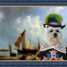 West Highland White Terrier Fine Art Canvas Print - Shipping Vessels in an Estuary