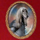 Afghan Hound Jewelry Brooch Handcrafted Ceramic - Knight