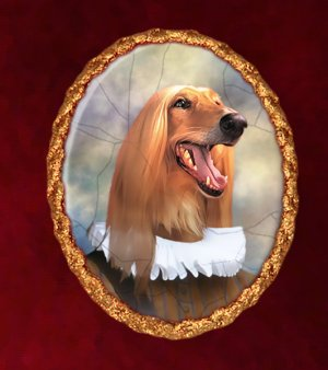 Afghan Hound Jewelry Brooch Handcrafted Ceramic - Baron