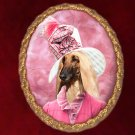 Afghan Hound Jewelry Brooch Handcrafted Ceramic - Pink Lady
