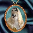 Afghan Hound Pendant Necklace Porcelain - Princess