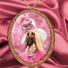 Afghan Hound Pendant Necklace Porcelain - Pink Lady