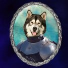 Alaskan Malamute Jewelry Brooch Handcrafted Ceramic -  Knight