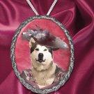 Alaskan Malamute Pendant Necklace Porcelain - Pink Lady