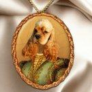 American Cocker Spaniel Pendant Necklace Porcelain - Noble Lady