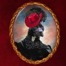 American Staffordshire Terrier Jewelry Brooch Handcrafted Ceramic - Black Lady