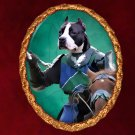American Staffordshire Terrier Jewelry Brooch Handcrafted Ceramic - Knight