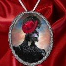 American Staffordshire Terrier Pendant Necklace Porcelain - Black Lady