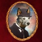 Australian Cattle Dog Jewelry Brooch Handcrafted Ceramic - Gentleman with Hat