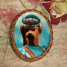 Yorkshire Terrier Pendant Necklace Porcelain - Blue Lady