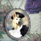 White Suisse Shepherd Pendant Necklace Porcelain - Horserider