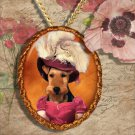 Welsh Terrier Pendant Jewelry Handcrafted Ceramic -  Lady with Hat