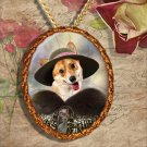 Welsh Corgi Pembroke Pendant Jewelry Handcrafted Ceramic - Noble Lady