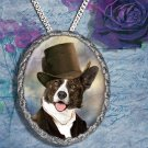 Welsh Corgi Cardigan Pendant Jewelry Handcrafted Ceramic - Gentleman