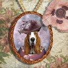 Basset Hound Pendant Jewelry Handcrafted Ceramic - Noble Lady