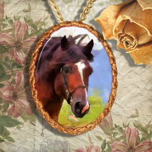 Bay Horse Welsh Cob Jewelry Pendant Necklace Handcrafted Ceramic