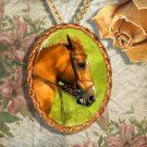 Chestnut Horse Warmblood Hanoverian Horse Jewelry Pendant Necklace Handcrafted Ceramic