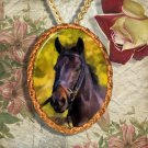 Black Horse Warmblood Jewelry Pendant Necklace Handcrafted Ceramic