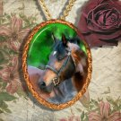 Bay Horse Warmblood Horse Jewelry Pendant Necklace Handcrafted Ceramic