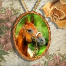 Chestnut Horse Western Quarter Horse Jewelry Pendant Necklace Handcrafted Ceramic