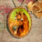 Chestnut Horse Western Quarter Horse Jewelry Pendant Necklace Handcrafted Ceramic