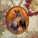 Bay Horse Western Quarter Horse Jewelry Pendant Necklace Handcrafted Ceramic