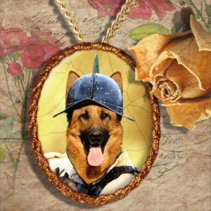 German Shepherds Jewelry Pendant - Brooch Handcrafted Ceramic by Nobility Dogs