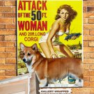Welsh Corgi Vintage Poster Canvas Print - Attack of the 50 Foot Woman Movie