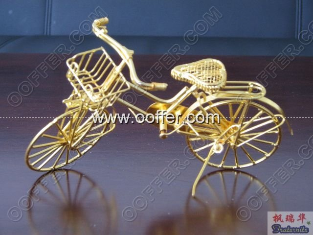 Iron Wire Craft Golden Bike